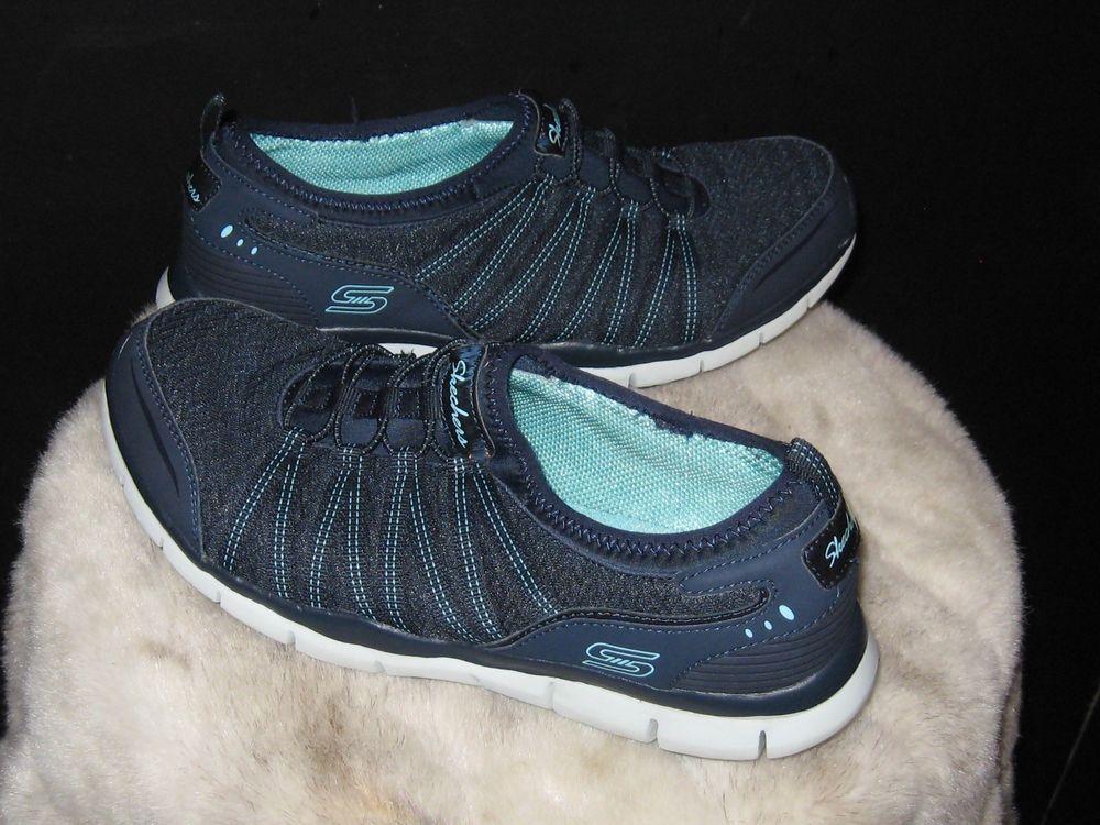 Women s Skechers Air-Cooled Memory Foam Slip On Sneakers Sz 9.5 Navy   Skechers  Sneakers 48f6c230e