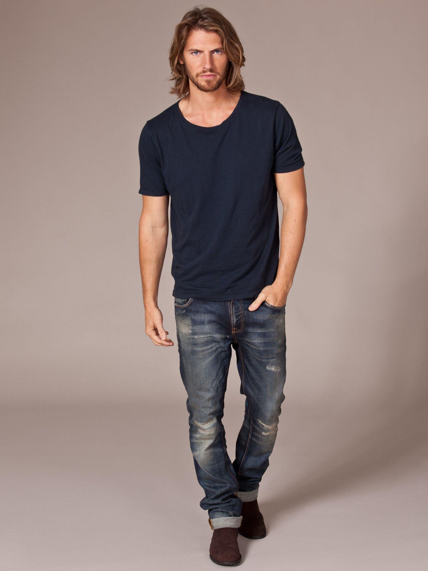 Wide Neck T Shirt Nudie Jeans Dark Blue T Shirts