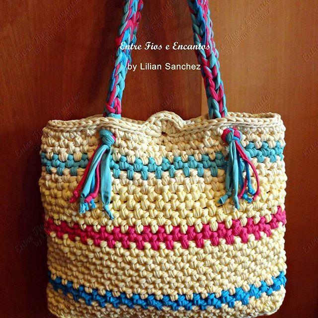 17d61e185d Bolsa de praia em fio de malha multicolor! Para mais detalhes visite minha  loja na