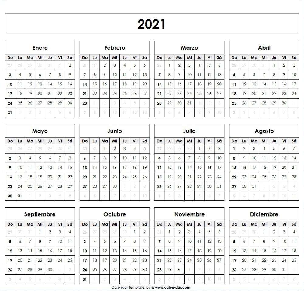 Calendario 2021 Para Imprimir por meses | Modelo Calendario 2021