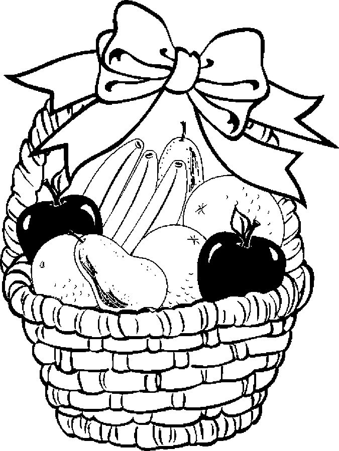 Fruit basket coloring pages 1 | Coloring pages | Pinterest