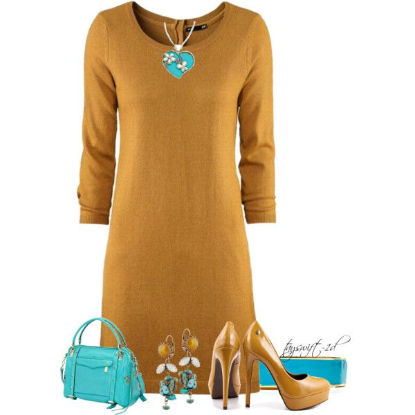 Turquoise and Mustard, created by tayswift-1d on Polyvore