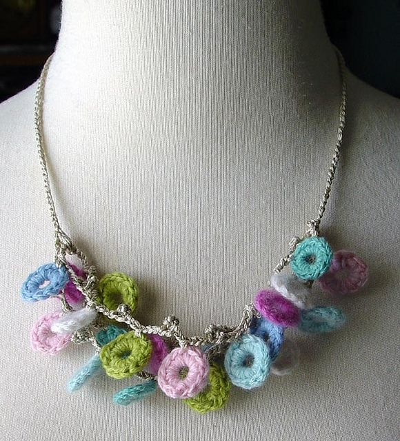 Crochet Pastel Circles Silk and Cashmere Necklace by meekssandygirl, via Flickr