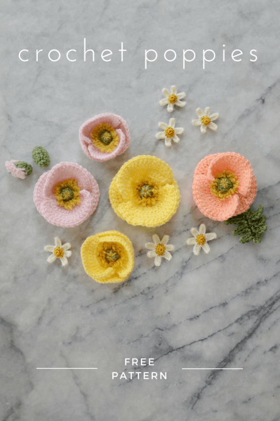 Iceland Poppy Pattern #crownscrocheted FREE crochet Iceland poppy pattern - make a bunch of realistic crochet poppies for a Mother's Day bouquet or a Spring flower crown #crochet #flower #poppy #free #pattern #crownscrocheted