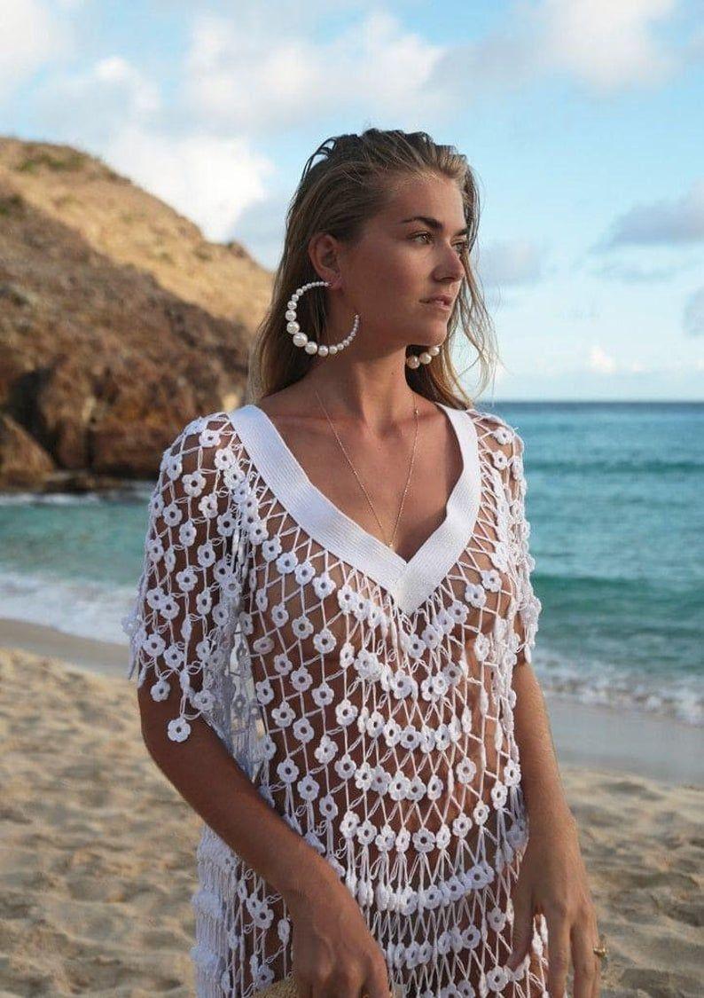 Handmade crochet cover up.