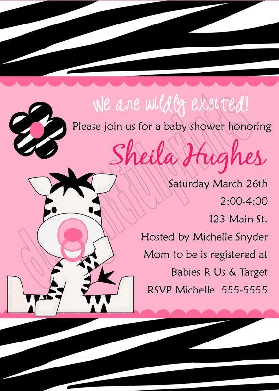 zebra baby shower invitationdiy you print by delightfulprints,
