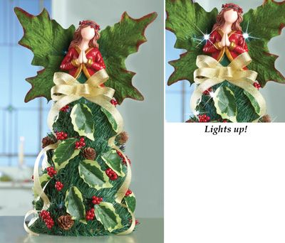 lighted holly berry angel christmas decoration - Www Collectionsetc Com Christmas