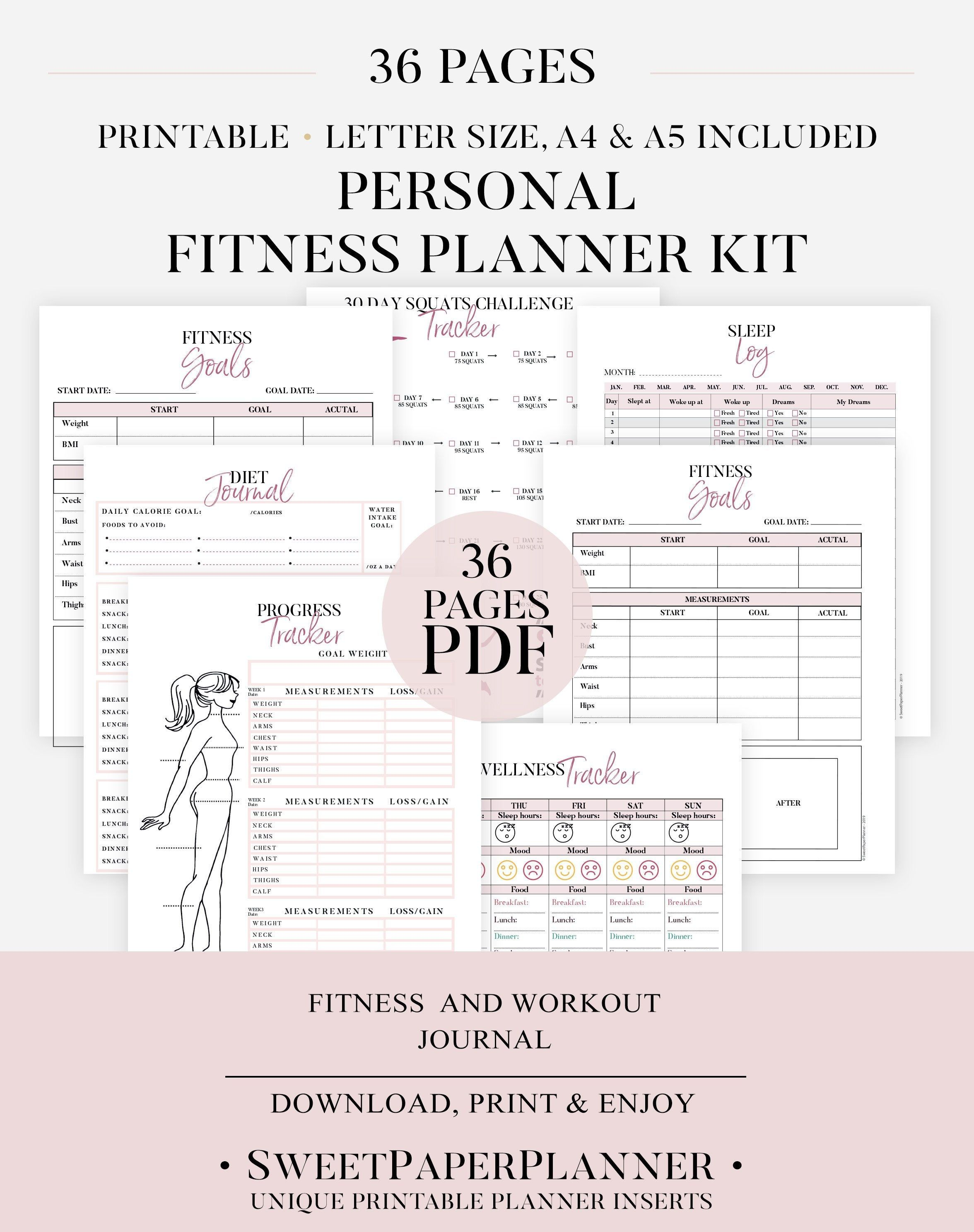 Ultimate Fitness Planner, Printable Health planner Bundle, Fitness Journal, Workout Log, Food And Exercise Tracker, 30 Day Squats Challenge -   15 fitness Tracker measurements ideas