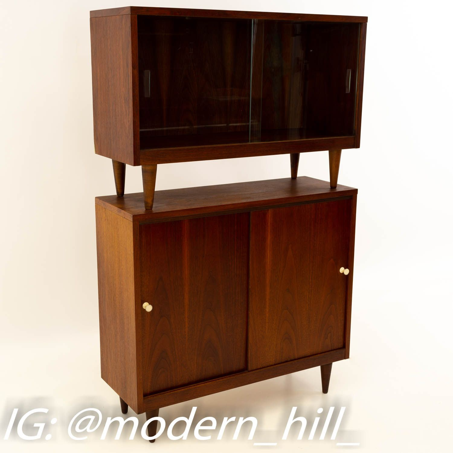 Crescent Furniture 2 Piece Mid Century Walnut Console Media Cabinet Media Cabinet Media Console Shop Storage Cabinets