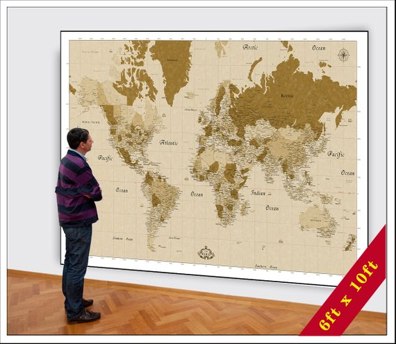 Huge Map Of The World.Big World Map Huge Map Of The World Up To 6x10ft In Size Large