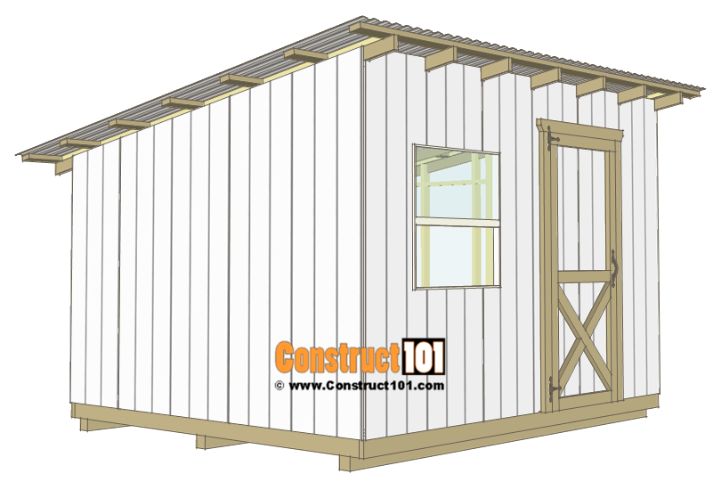10x12 Lean To Shed Plans Construct101 In 2020 Lean To Shed Diy Storage Shed Plans Lean To Shed Plans