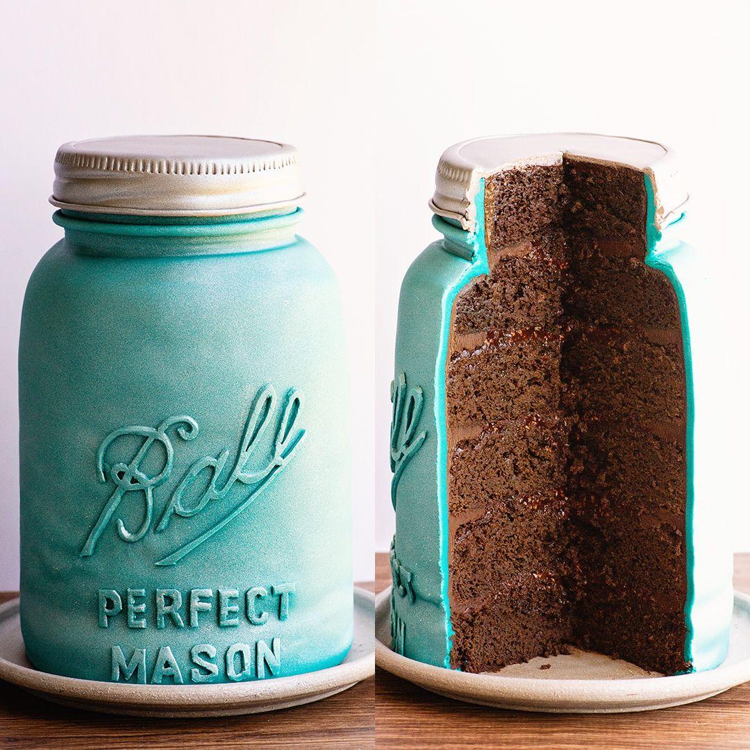 Photo of Mason Jar Cake with Chocolate Raspberry Jam