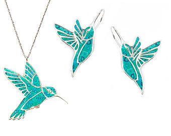 925 Sterling Silver Hummingbird Necklace and Earring Set - Available in Millefiori Turquoise and Blue Polymer Clay - FREE SHIPPING