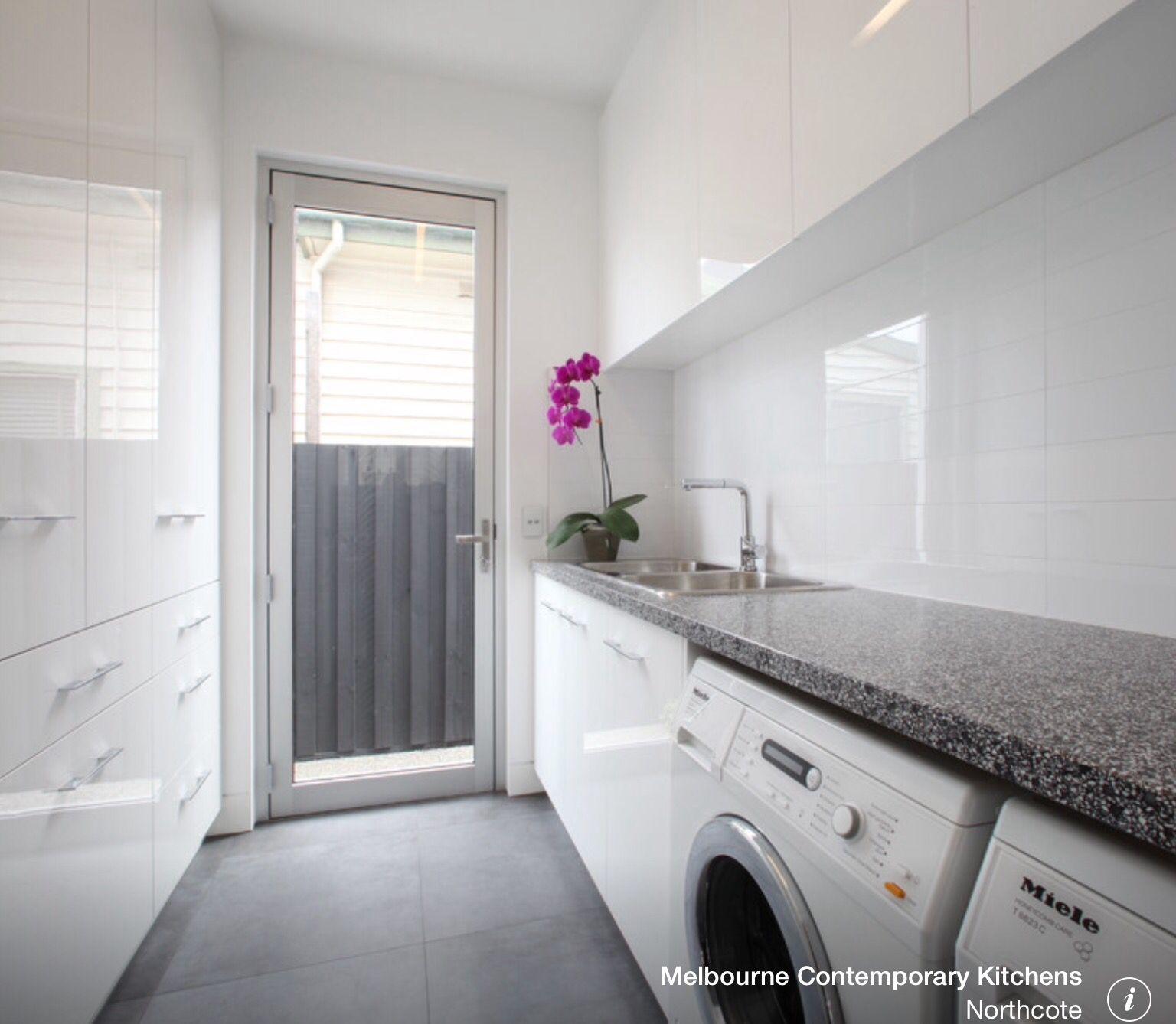 Hartland Kitchen And Laundry Room Remodel: Sink In Corner Under Bench Washer/dryer