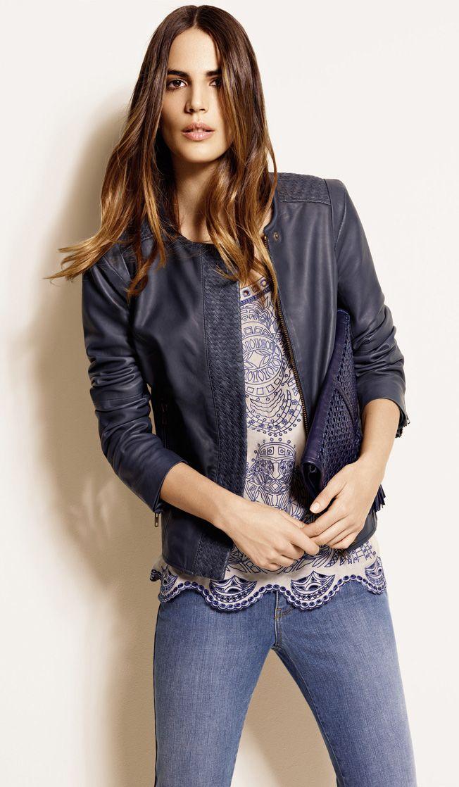 1.2.3 Paris -  Collection printemps-été 2013 - Veste Teobaldo 349€ Blouse Laureline 89€ Jean Davis 79€ Pochette Flavio 129€ #cuir #leather #denim #bleu #blue #printemps #été #spring #summer #mode #fashion #123paris #123 #casual