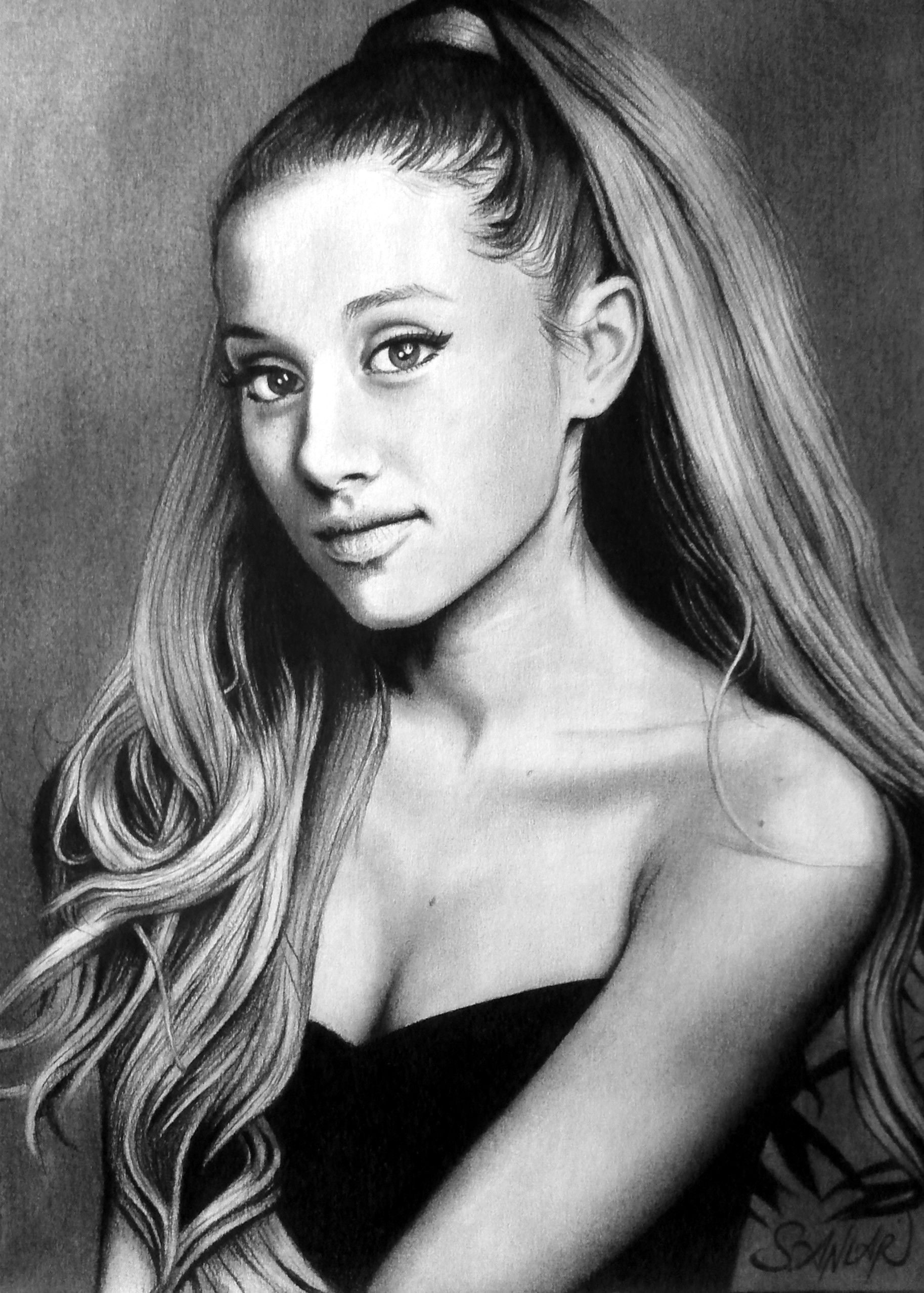 Charcoal drawing ariana grande