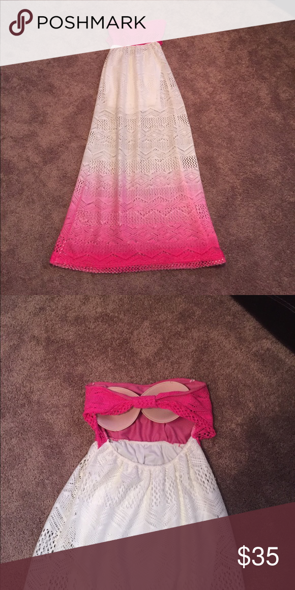 Stunning Strapless ombré Dress Unique ombre strapless dress. Perfect for summer & the beach! Hot pink and white. There are bra pads sewn in but can easily be removed.  Opening in the back. Floor length. See through material with mini slip underneath! Sage Dresses Maxi