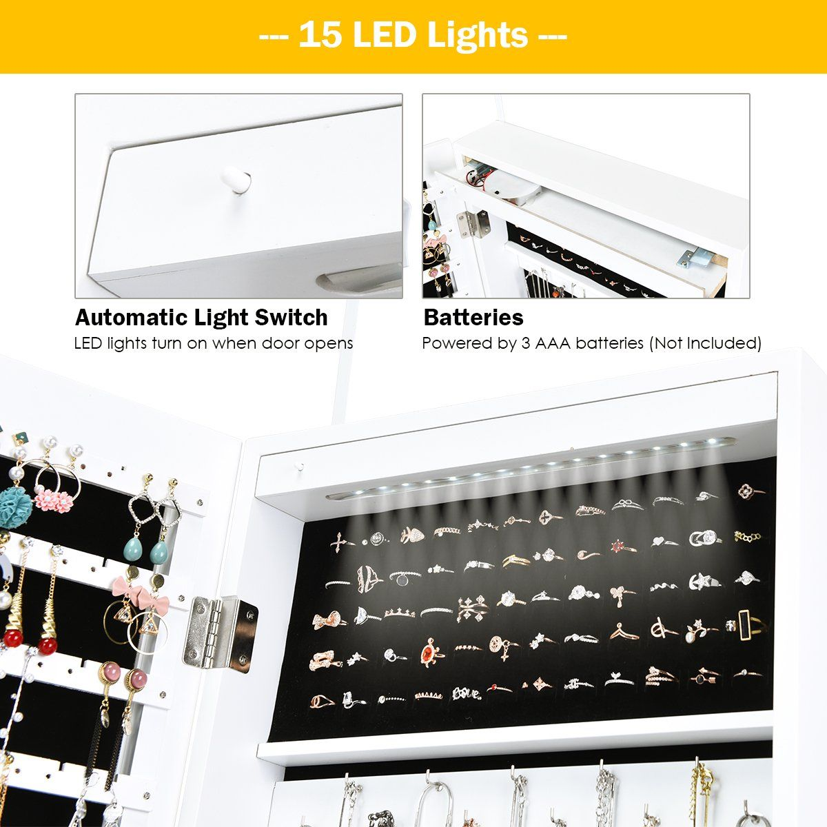 Costway Lockable Wall Door Mounted Mirror Jewelry Cabinet Armoire Organizer W Led Lights Walmart Com In 2020 Mirror Jewellery Cabinet Jewelry Mirror Jewelry Cabinet