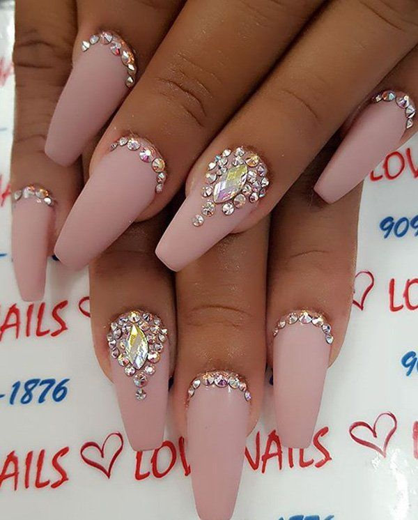 Neutral colors of nails are classic and with it you can't fail. Rhinestones  | Nail Designs | Nail Art | Crystals | Coffin | - 50 Rhinestone Nail Art Ideas ❤ Nails❤ Pinterest Nails