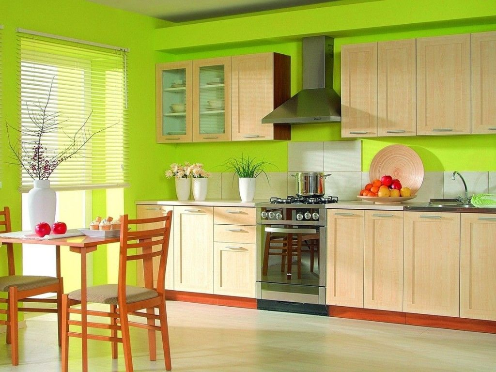 The Kitchen Design with Green Walls