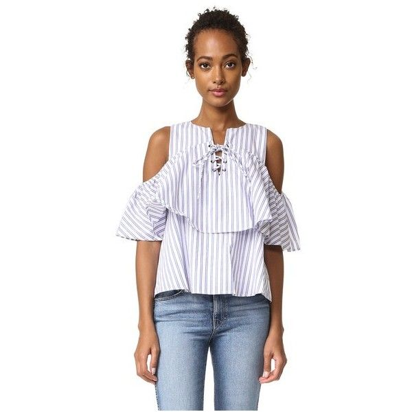 J.O.A. Lace Up Stripe Blouse ($66) ❤ liked on Polyvore featuring tops, blouses, flutter sleeve top, flutter sleeve blouse, lining shirts, lace up blouse and ruffle sleeve top
