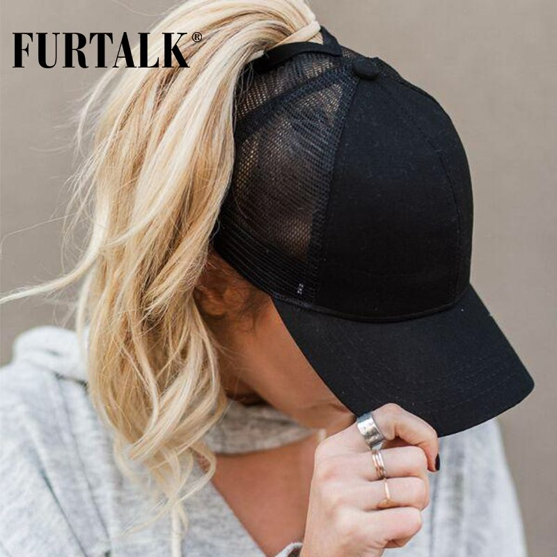 1f041f13a2c FURTALK New Arrivals Ponytail Baseball Cap Women Messy Bun Baseball Hat  Snapback