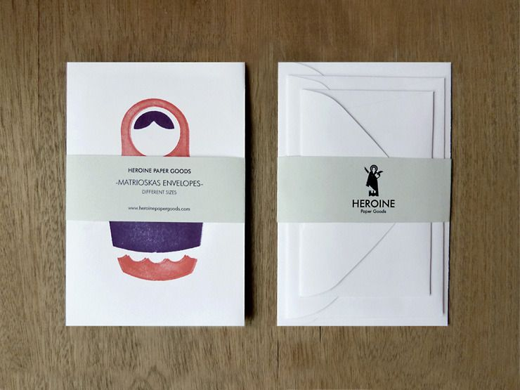 matrioskas / heroine paper goods.. i love that each card is a different size.