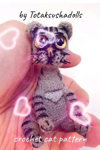 Crochet cat pattern. Miniature animals. PDF patter