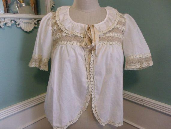 Vintage 60's White Lace trimmed Cotton Shirt. by sailorpinkvintage, $30.00