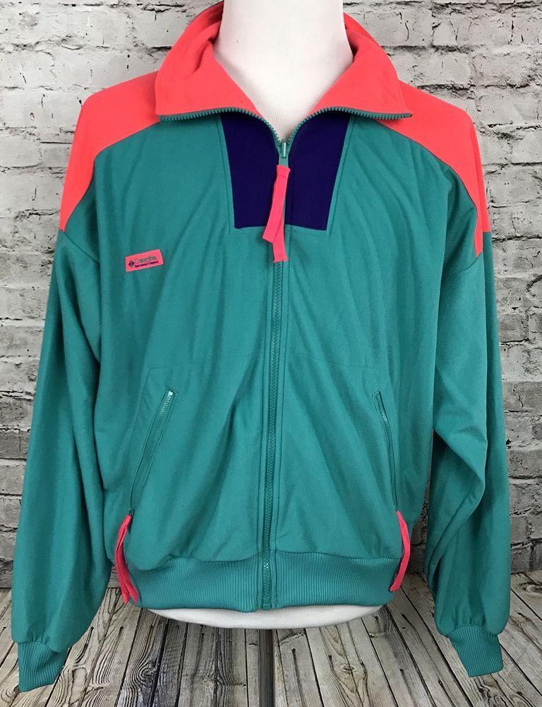 7a8d24f6724eb Vintage Mens XL Columbia Windbreaker Jacket 90's Purple Green Orange Color  Block | eBay