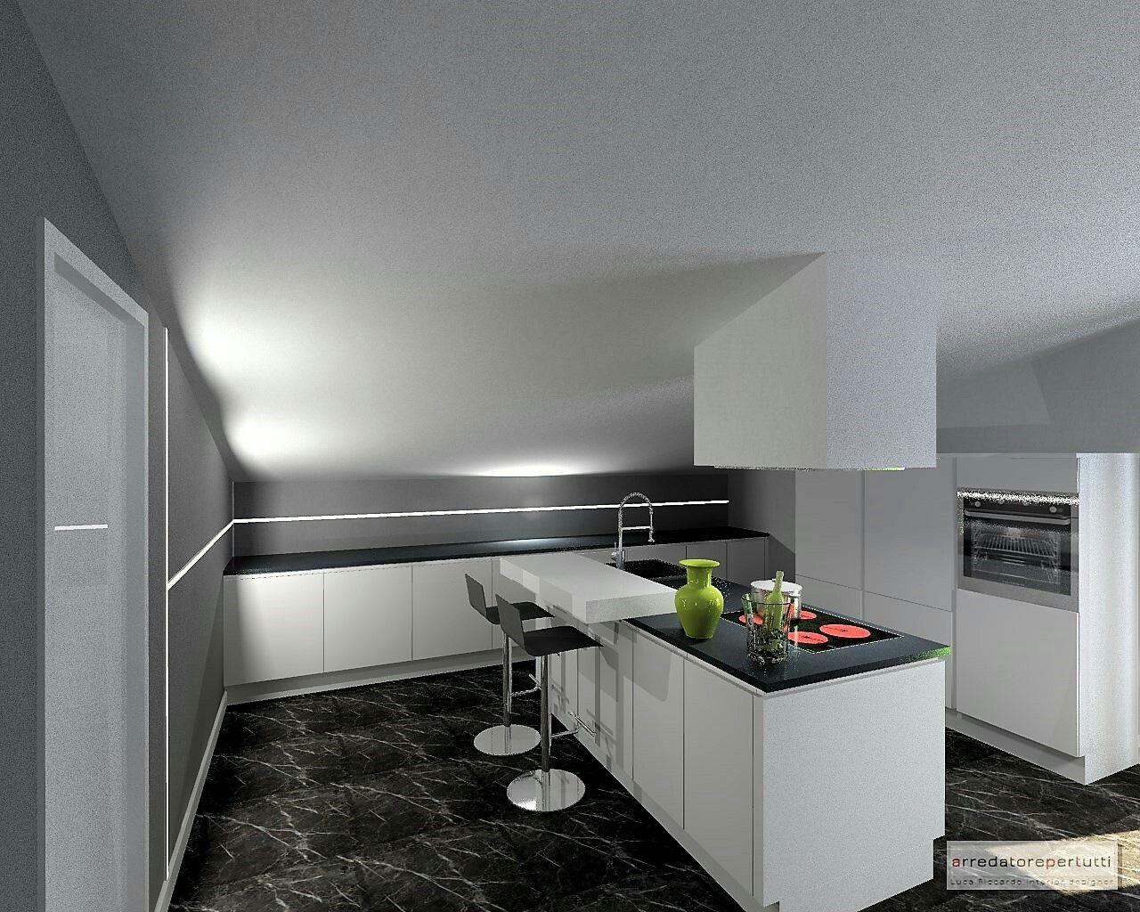 Piano Di Lavoro A Ribalta cucina moderna bianca, piano di lavoro nero, barra led
