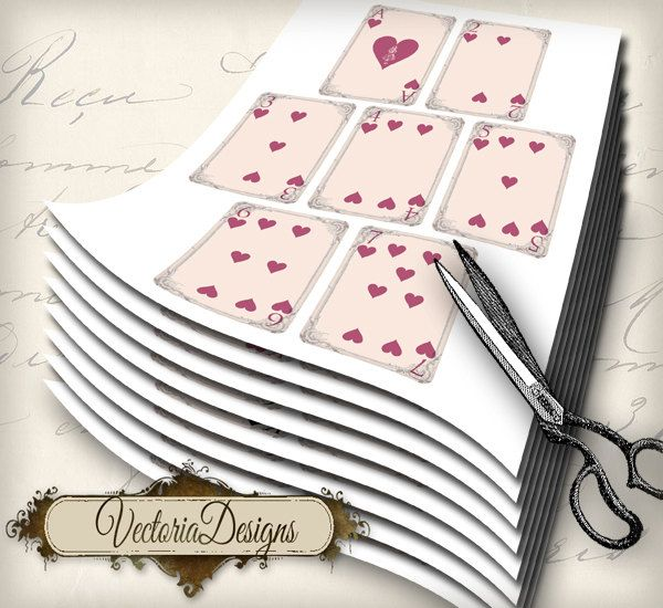 image regarding Printable Playing Card Stock identified as Printable Alice inside Wonderland actively playing playing cards complete deck paper