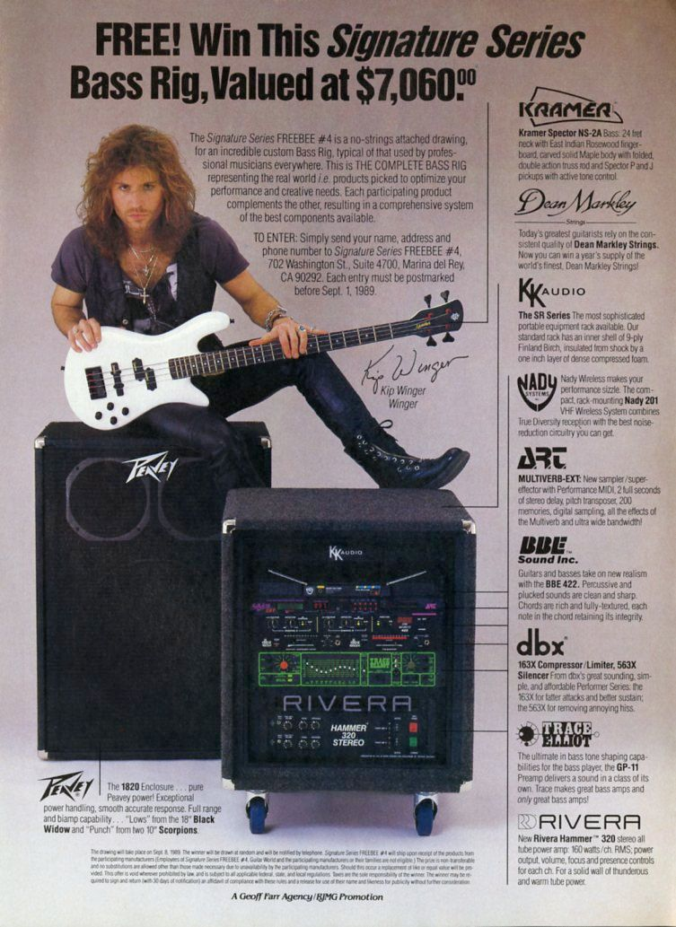 Kip Winger Promo Ad - Peavey Amp - Spector Bass Guitar - Dean