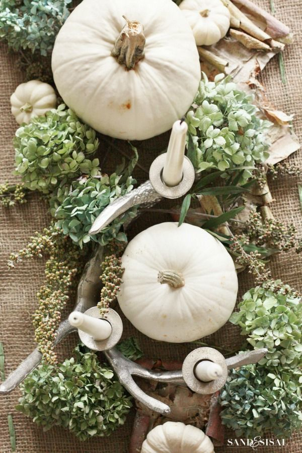 White Pumpkin Centerpiece- white pumpkins, dried hydrangeas, candles, and burlap. Easy and beautiful.
