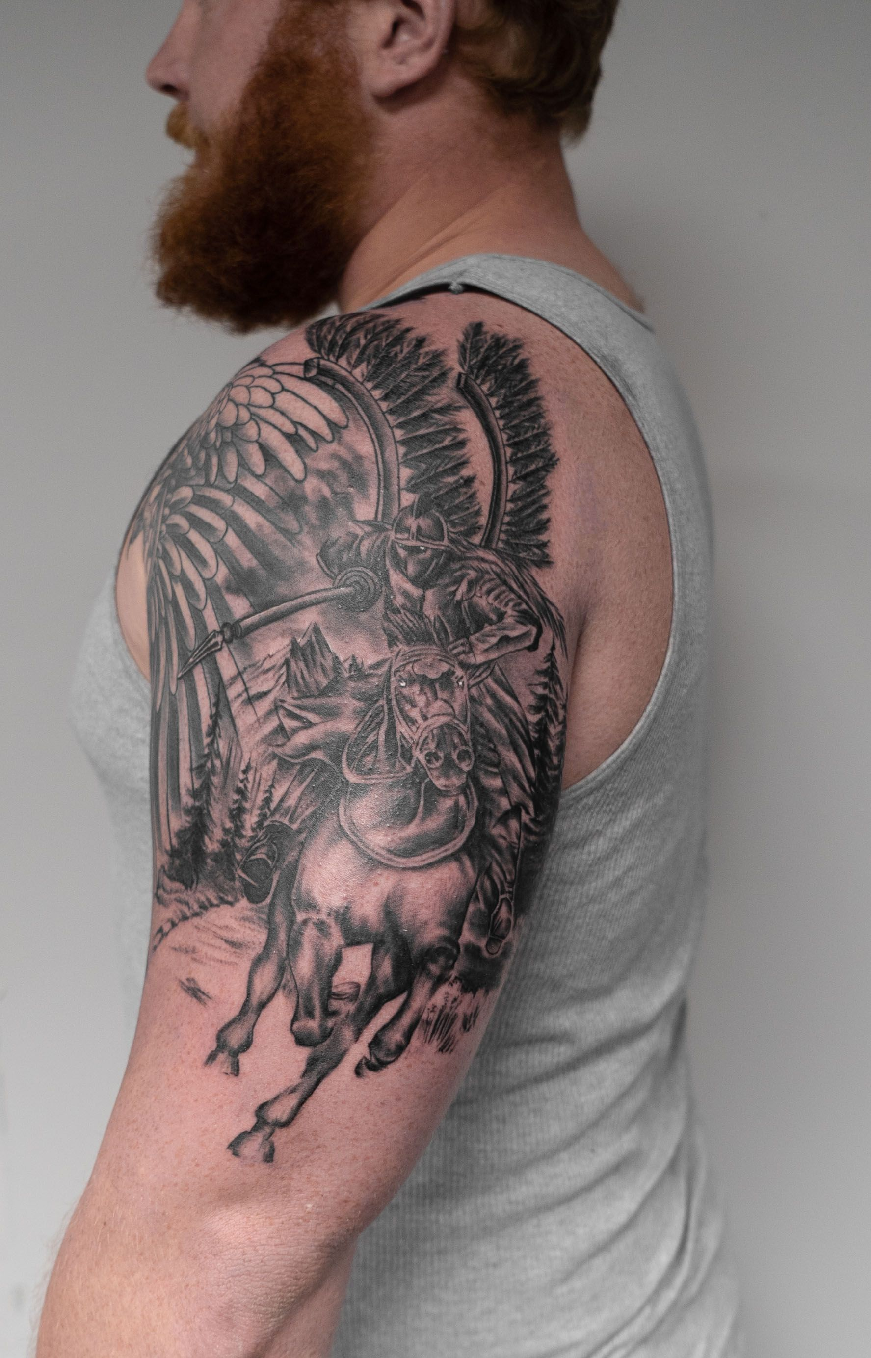 A Polish Knight And His Horse Displayed In Black Grey Photo Realistic Tattoo Work Tattoos Tattooart Tattooer Tattoo Ta Tattoos Laser Tattoo Tattoo Work