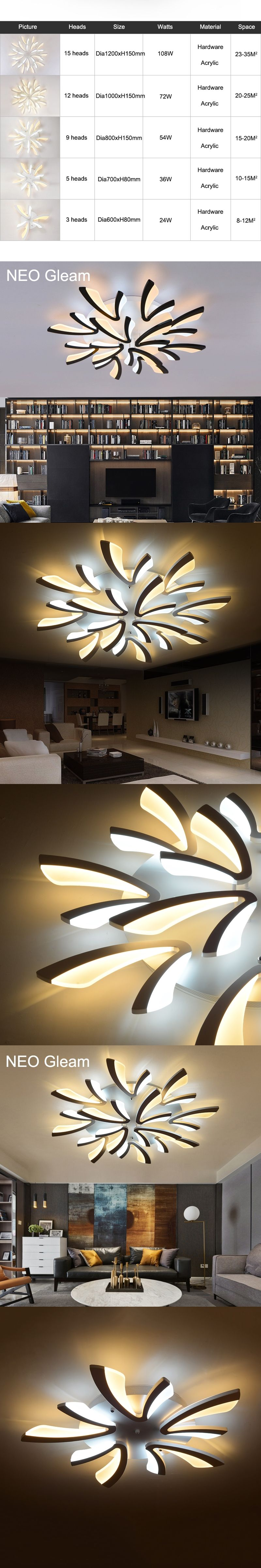 NEO Gleam Acrylic Thick Modern Led Ceiling Lights For Living Room Bedroom Dining Home
