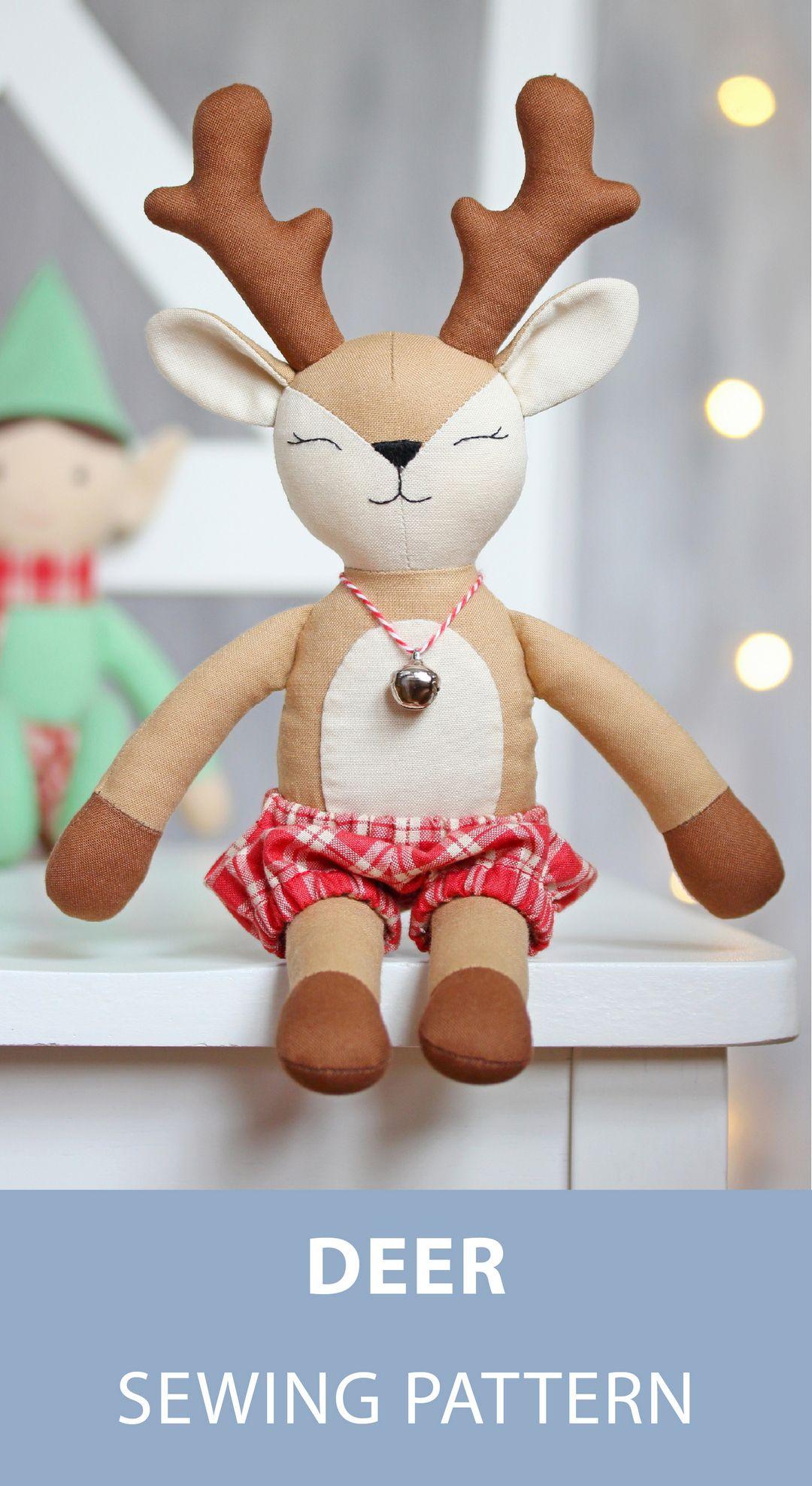 Pdf Deer Reindeer Doll Sewing Pattern Tutorial Forest Animal
