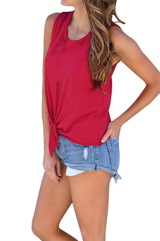 a0e2a35aa42d00 Chellysun Women s tie knot Summer Sleeveless Casual Tank Tops summer DIY  casual cute dressy tank tops