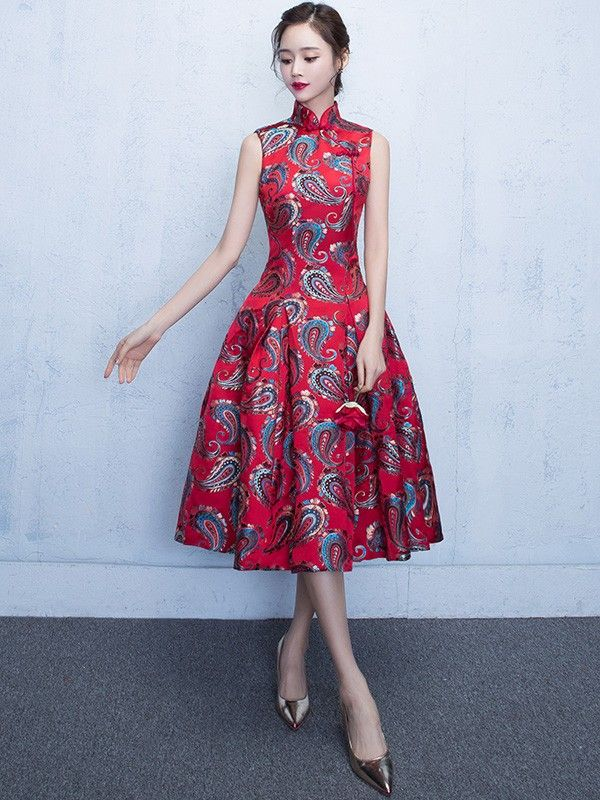 Embroidered Red Flare Qipao   Cheongsam Dress  701bacadf22f