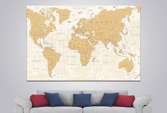 Large World Map Art Detailed World Map Canvas Push Pin World ...