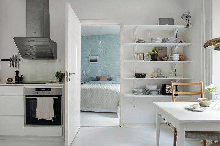 skandinavisch wohnen kleine wohnung küche esszimmer wandregale