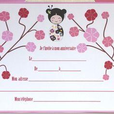 carte d 39 invitation pour anniversaire imprimer enfant sur le th me du japon ca n 39 est que pour. Black Bedroom Furniture Sets. Home Design Ideas