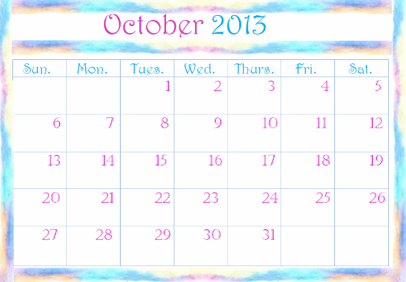 2013 calendar templates
