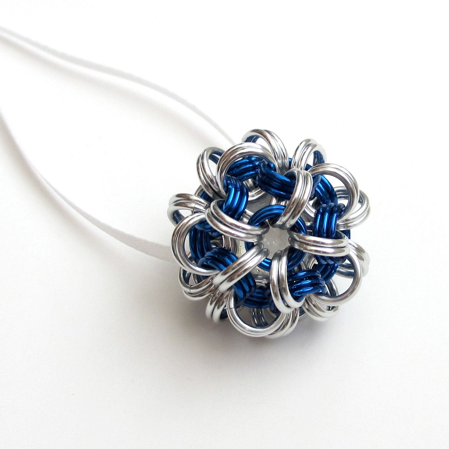 Chainmail Christmas ornament in silver & blue. $20.00, via Etsy.