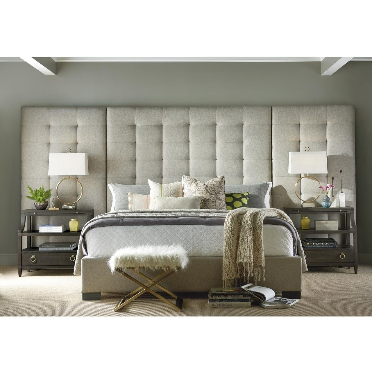 Camille Box Tufted Extended Headboard Grey Upholstered King Bed King Upholstered Bed Furniture Trends Universal Furniture