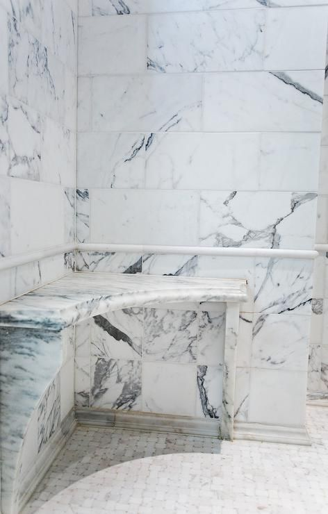 Marble Corner Shower Seat.Fantastic Shower Is Filled With Carrera Marble Tiles