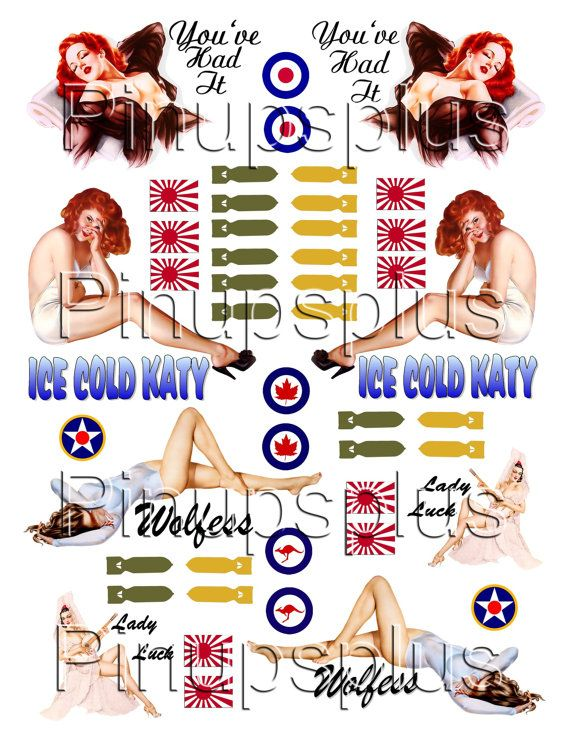 # 2 Nose Art Pin Ups Decals model airplane pin up girls tiny