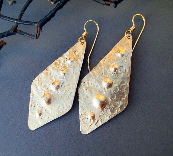 Hammered Brass Earrings Long Gold Dangle Earrings Artisan Handmade Metal Earrings Modern Metalsmith Bohemian Tribal Jewelry