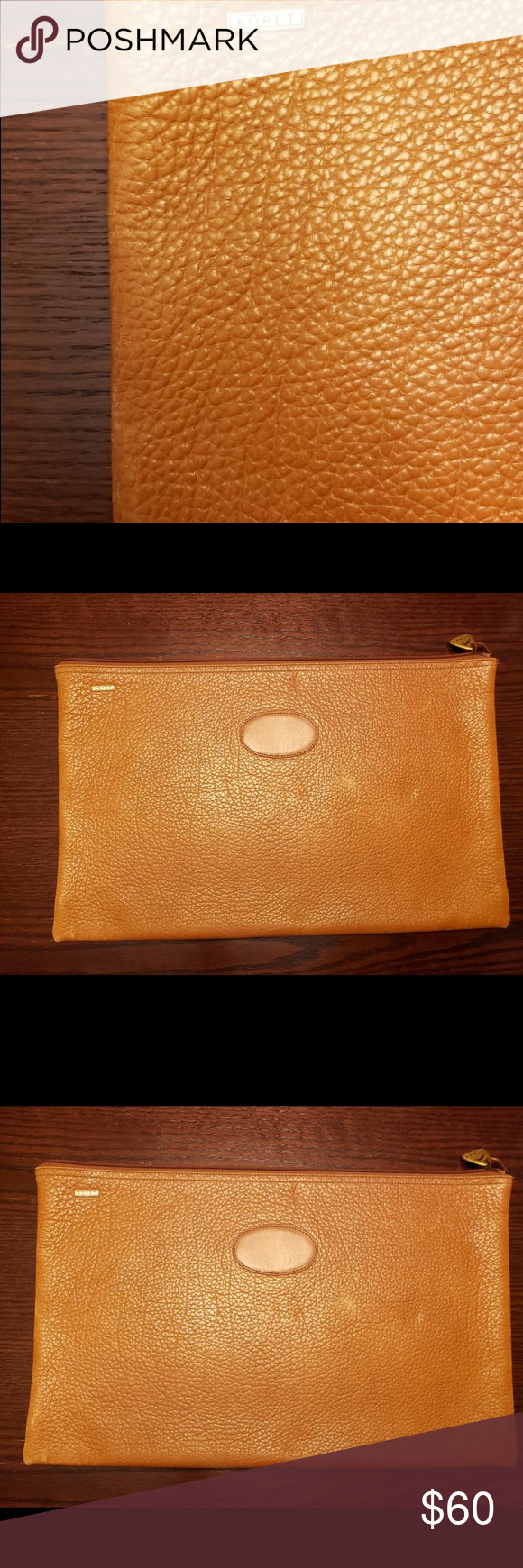 Koret Zippered Leather Portfolio Clutch Koret 100% Leather Camel Colored Zipper top closure. It was never used given as a gift many years ago it does have tiny discoloration on front from storage as shown in picture  Measures 16w x 10h Beautiful clutch to carry those important documents also could be Unisex Koret Bags #importantdocuments