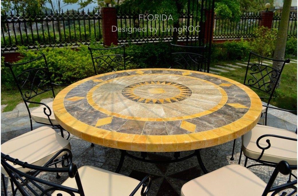 Table de jardin ronde 125-160 mosaïque de marbre FLORIDE ...